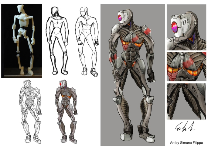 robot illustrations using A9 rig
